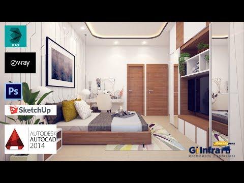 3ds max 2016  VRAY 3.6  interior design  tutorial bedroom (part 1 )