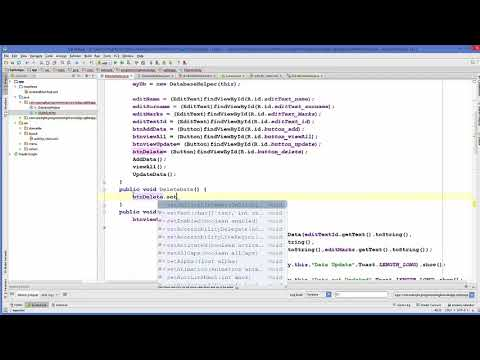 Android SQLite Database Tutorial 6 # Delete values in SQLite Database table using Android