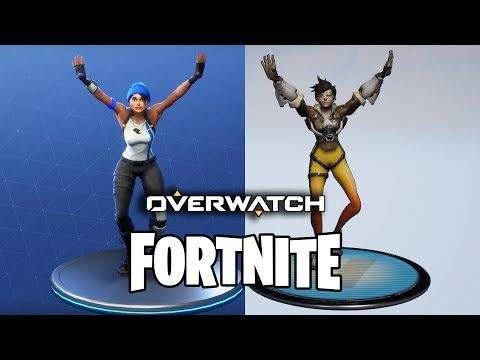 Dances from Fortnite but performed by Tracer from Overwatch