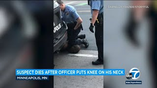 George Floyd: Video shows Minneapolis police officer kneeling on neck of black man who died | ABC7