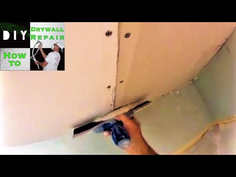 How to repair a water damaged drywall ceiling | How to flat tape a ceiling | Drywall repair mud work