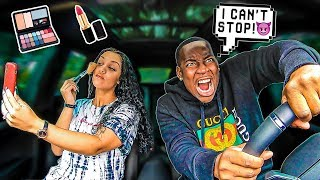DRIVING CRAZY WHILE WIFE DOES HER MAKEUP TO SEE HOW SHE REACTS!!