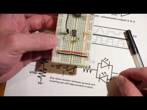 741 op amp non inverting comparator demonstration circuit step by step build and explanation