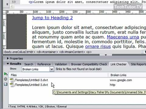 Test Links with Link Checker in Dreamweaver CS3