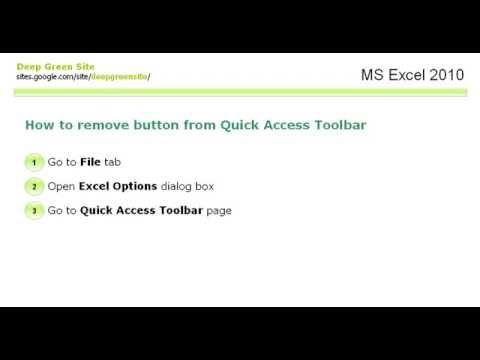 MS Excel 2010 / How to remove button from Quick Access Toolbar