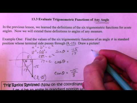 Evaluate Trig Functions Of Any Angle 1 Of 3