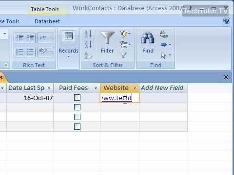 Use the Hyperlink Data Type in Access 2007