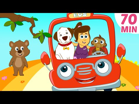 Wheels On The Bus and More Nursery Rhymes Compilation by HooplaKidz   70 Mins