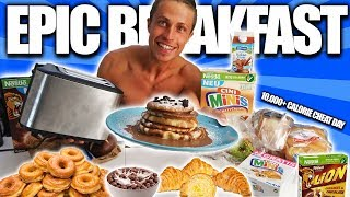 10.000+ CALORIE CHEAT DAY I BODYBUILDER VS FOOD I DONUTS CROSSAINTS CEREALS