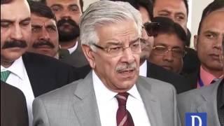 Khawaja Asif media talks outside SC