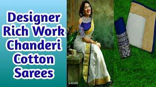 158d4defa0 Designer Rich Work Chanderi Cotton Sarees With Price/Online shopping/MYSHOP