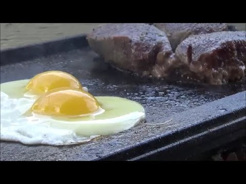 How to make your Lodge Cast Iron Griddle NON-STICK  Venison Steak with Eggs and Pancakes