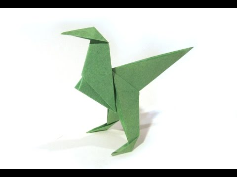 Origami Dinosaur Velociraptor - easy origami - How to make an origami Velociraptor
