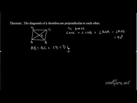 Quadrilateral Theorem:Diagonal of a rhombus are perpendicular to each other