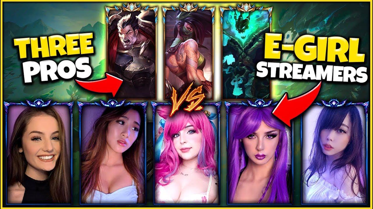 3 Pro Players vs. 5 Diamond E-Girls (3v5) *8 DIFFERENT POVS* Ft. BunnyFufuu - League of Legends