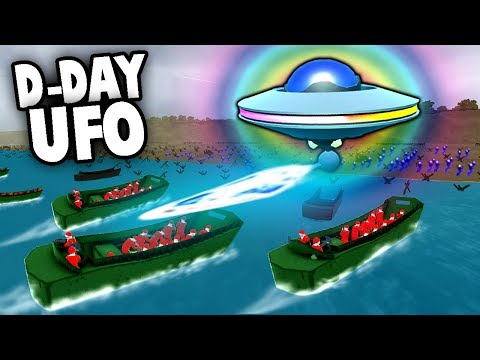 SECRET UFO Defends D-Day Invasion!  Aliens! (Ravenfield Gameplay)