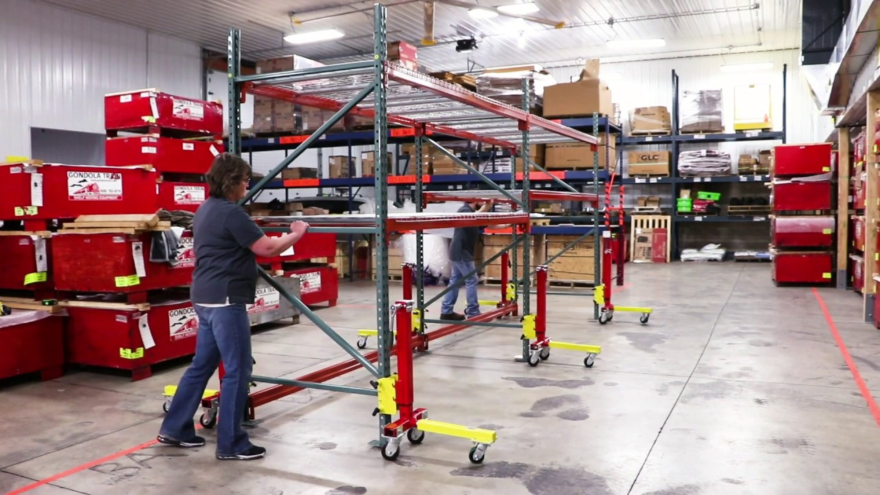 How to Move Pallet Racking   Gondola Train Pallet Rack Mover Instructions
