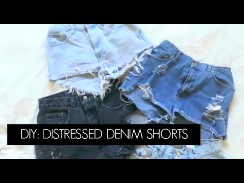 DIY: Thrifted Jeans Into Distressed High Waisted Shorts | Diana Quach