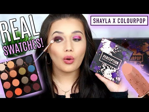 SHAYLA X COLOURPOP REAL LIVE SWATCHES! Trying ALL Shadows, Lips, Highlighters