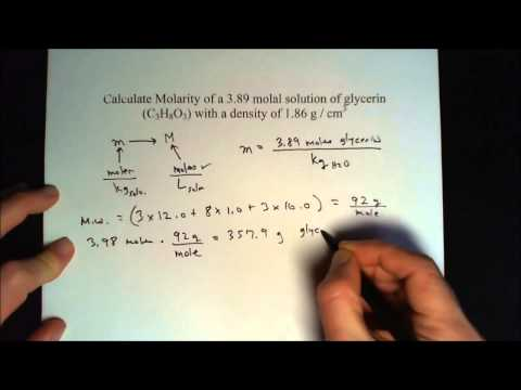 Convert molality to molarity of a glycerin solution - How to from m to M