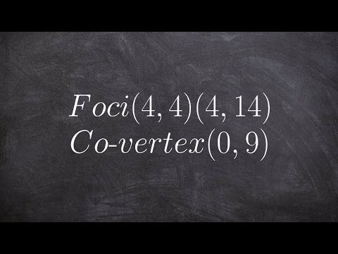 How to write the equation of an ellipse when given the foci and co vertex