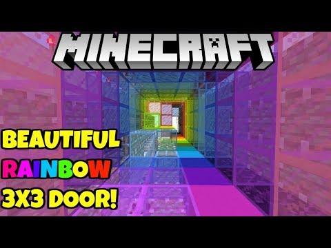 Minecraft Rainbow 3x3 Spiral Piston Door! 1 Wide Tileable! Bedrock Edition PE MCPE PC Xbox