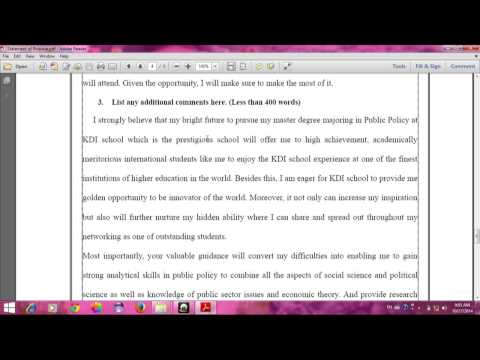 Statement of Purpose (Korean Scholarship) by Lim Soklen