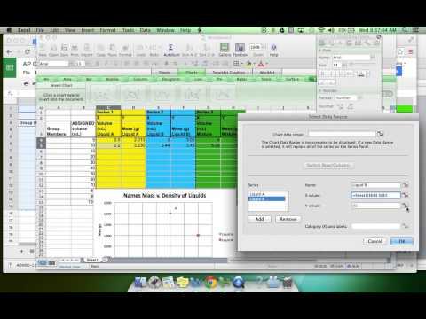 Chemistry Lab Density Graphing Mass Volume Data Microsoft Excel Video