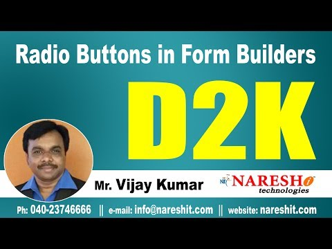 Radio Buttons in Form Builders | D2K Forms and Reports Tutorial | Mr. Vijay Kumar