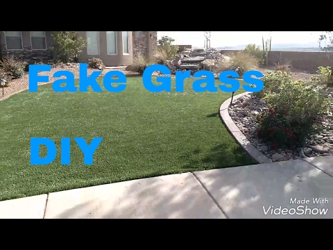 DIY fake grass install. Cheap and easy faux grass with NO MAINTENANCE!