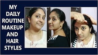 My Simple And Easy Daily Makeup Routine    My Hair Style    Everyday Makeup Routine In Telugu