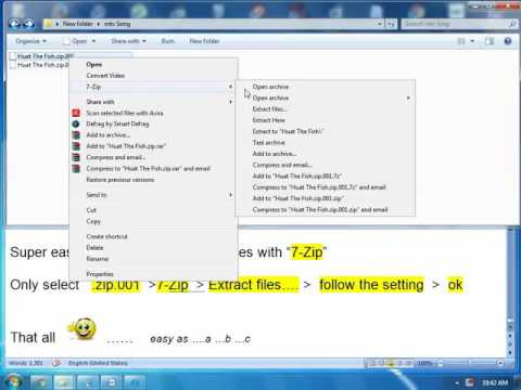 Super easy way to extract .zip.001 file with
