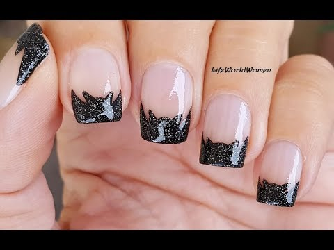 Sparkle BAT FRENCH MANICURE NAIL ART For HALLOWEEN