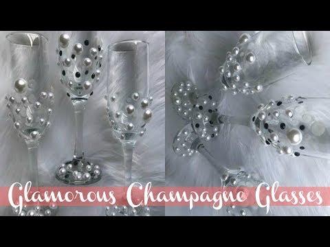 DIY Dollar Tree Champagne Glasses | Elegant Wedding Glasses