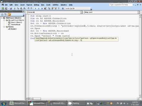 EXCEL VBA MACRO READ DATA FROM SQLSERVER