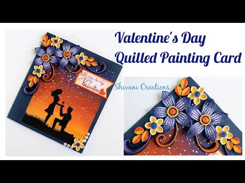 Quilled Valentine's Day Painting Card/ Poster Color Painting Card
