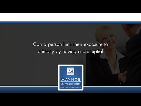 Can a person limit their exposure to alimony by having a prenuptial agreement in Florida?