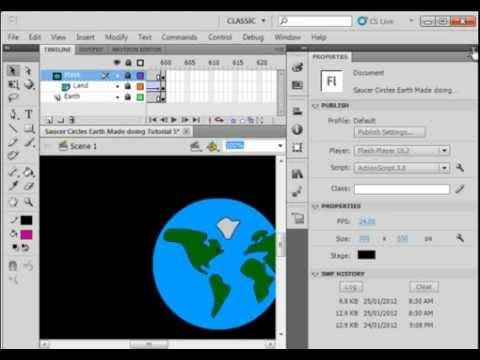 Flash CS5 Tutorial 4 Rotating Earth Using A Mask.avi