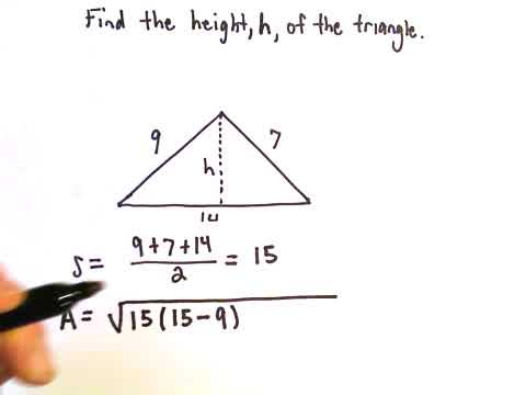 Heron's Formula to Find Height of a Triangle