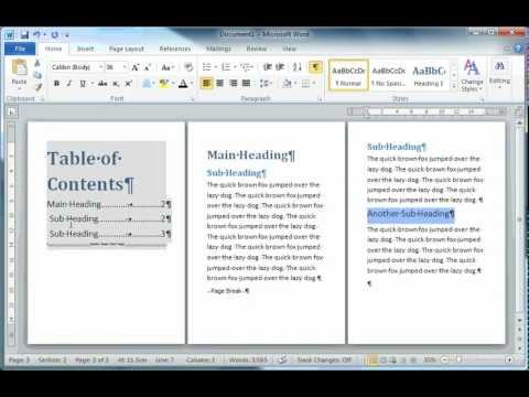 Creating a Table of Contents in MS Word 2010
