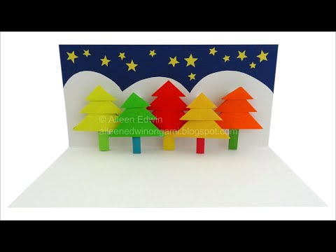 Origami Pop-Up Christmas Tree Card Video Tutorial *HD*