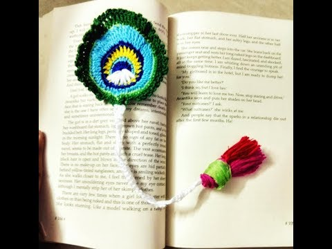TUTORIAL FOR MAKING CROCHET PEACOCK FEATHER BOOKMARK
