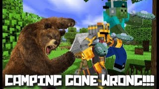 Minecraft Going Camping Mod / Run Away From The Pack Of Bears !!!