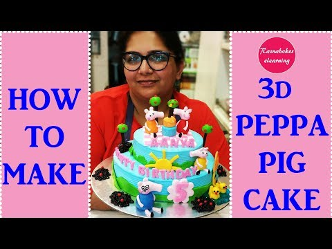 How To Make Peppa Pig Cake: 3D fondant peppa pig toppers cake decorting tutorial