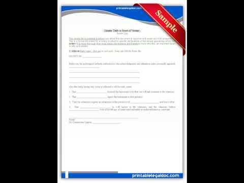 Free printable Estate of Oath in Front of Notary Forms