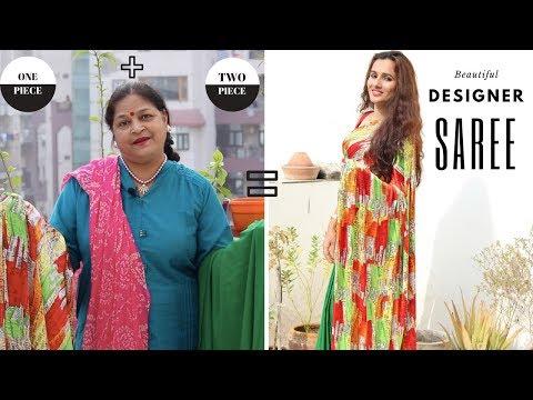 Beautiful Designer Saree With 2 Cut Pieces | DIY