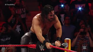 Seth Rollins Frogplashed Bray Wyatt through a table: WWE Extreme Rules 2017