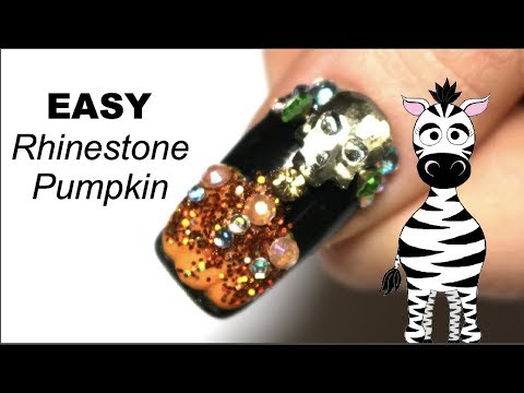 EASY 3D Pumpkin with Rhinestones Acrylic Nail Art Tutorial | Beauty Big Bang