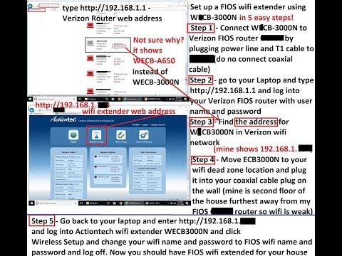 5 easy steps for ECB3000n Wifi extender for my Verizon FIOS network to no wifi deadzoneinmyhouse