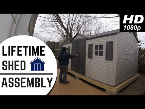 Lifetime Outdoor Storage Shed With Wooden Platform (Timelapse)